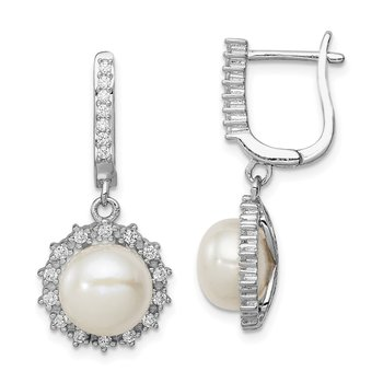 Sterling Silver Rhodium-plated 8-9mm Button FWC Pearl Hoop Dangle Earrings