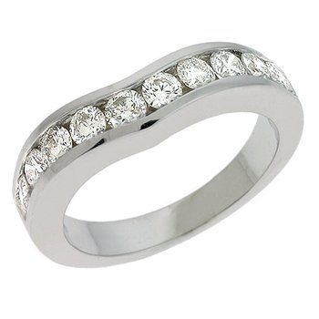 V Shape White Gold Band