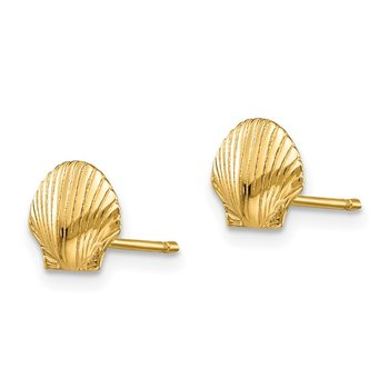 14k Mini Scallop Shell Post Earrings