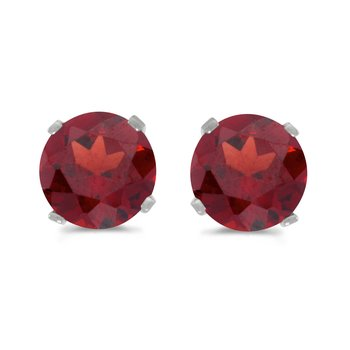 5 mm Natural Round Garnet Stud Earrings Set in 14k White Gold