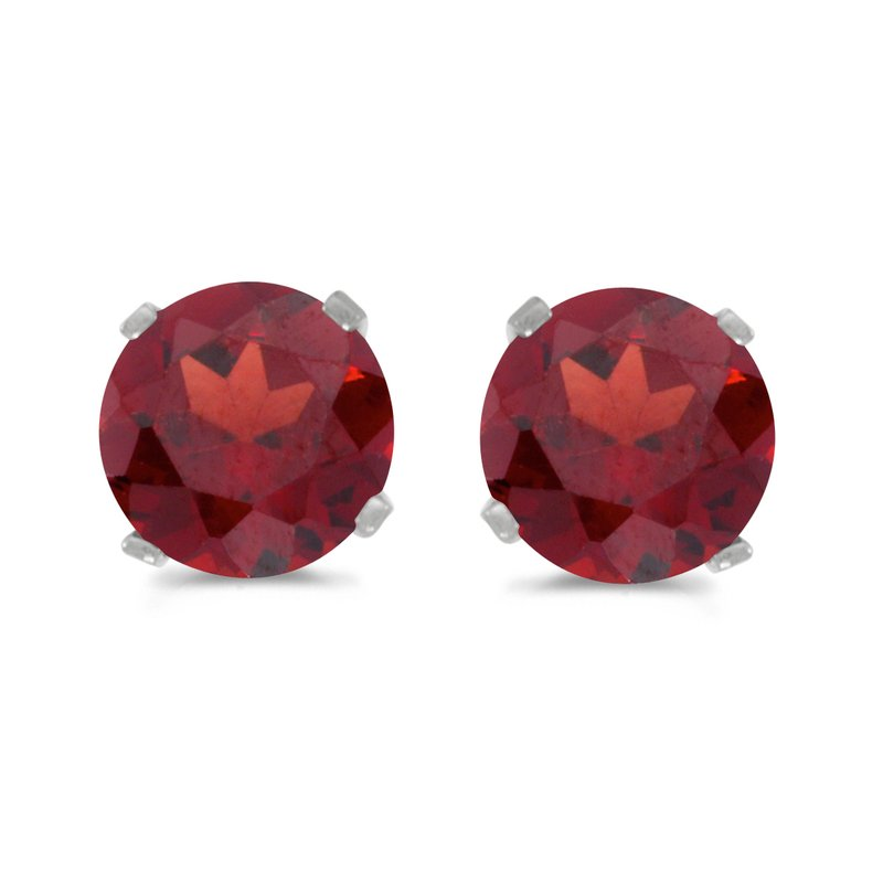 Color Merchants 5 mm Natural Round Garnet Stud Earrings Set in 14k White Gold