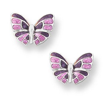 Purple Butterfly Stud Earrings.Sterling Silver