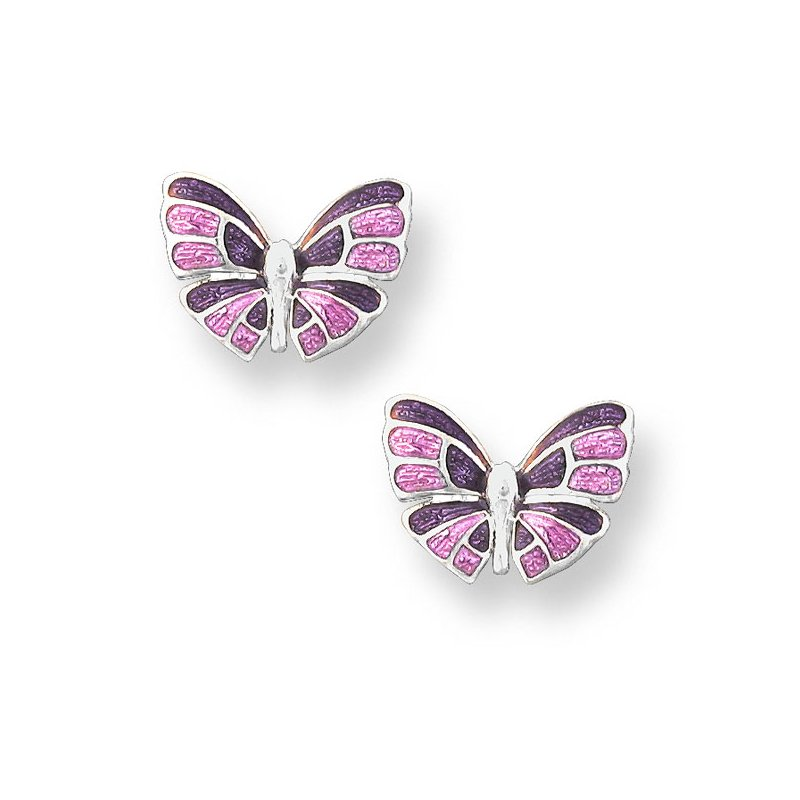 Nicole Barr Designs Purple Butterfly Stud Earrings.Sterling Silver