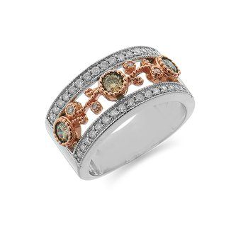 14K WR  White and Champagne Diamond Flower Ring with Migrain Edge Design