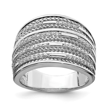 Sterling Silver Rhodium-plated CZ Rope Multi Row Ring