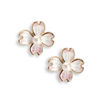 Small White Dogwood Stud Earrings.Rose Gold Plated Sterling Silver-Akoya Pearls