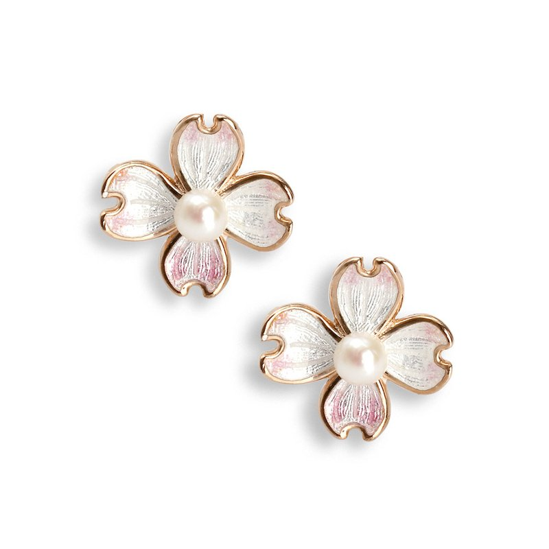 Nicole Barr Designs Small White Dogwood Stud Earrings.Rose Gold Plated Sterling Silver-Akoya Pearls
