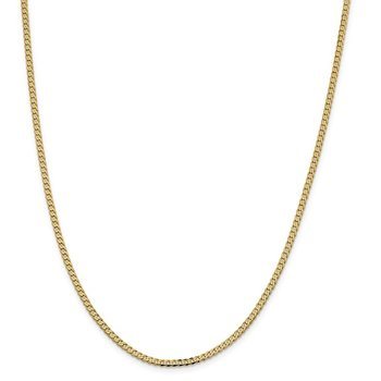 14k 2.3mm Flat Beveled Curb Chain Anklet