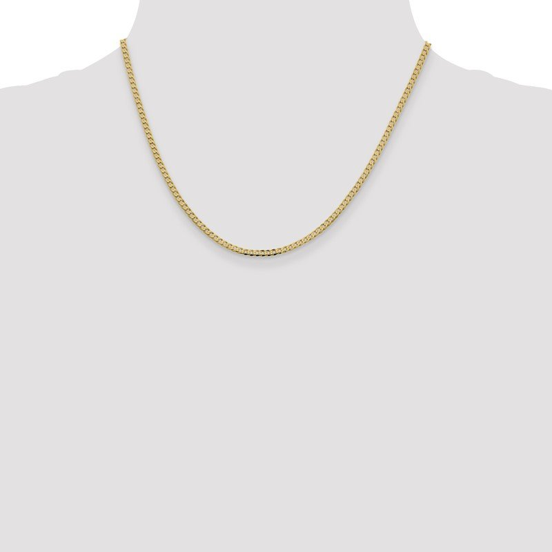 Quality Gold 14k 2.3mm Flat Beveled Curb Chain Anklet