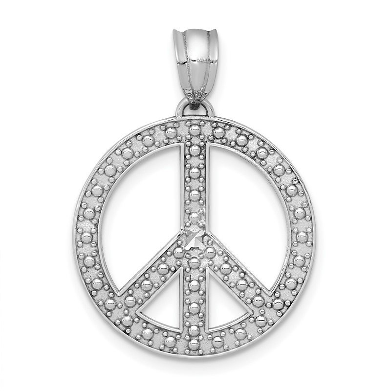 Quality Gold 14k White Peace Symbol Pendant