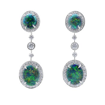 Platinum Black Opal Earrings