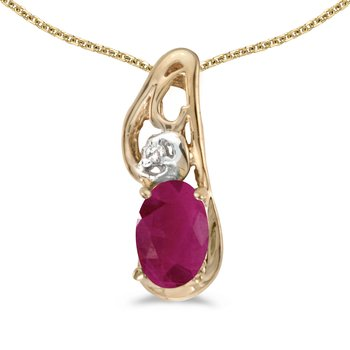 10k Yellow Gold Oval Ruby And Diamond Pendant