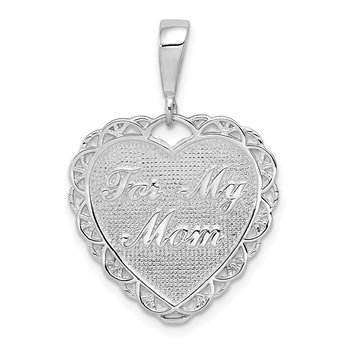 14k White Gold Polished Reversible For My Mom Heart Pendant