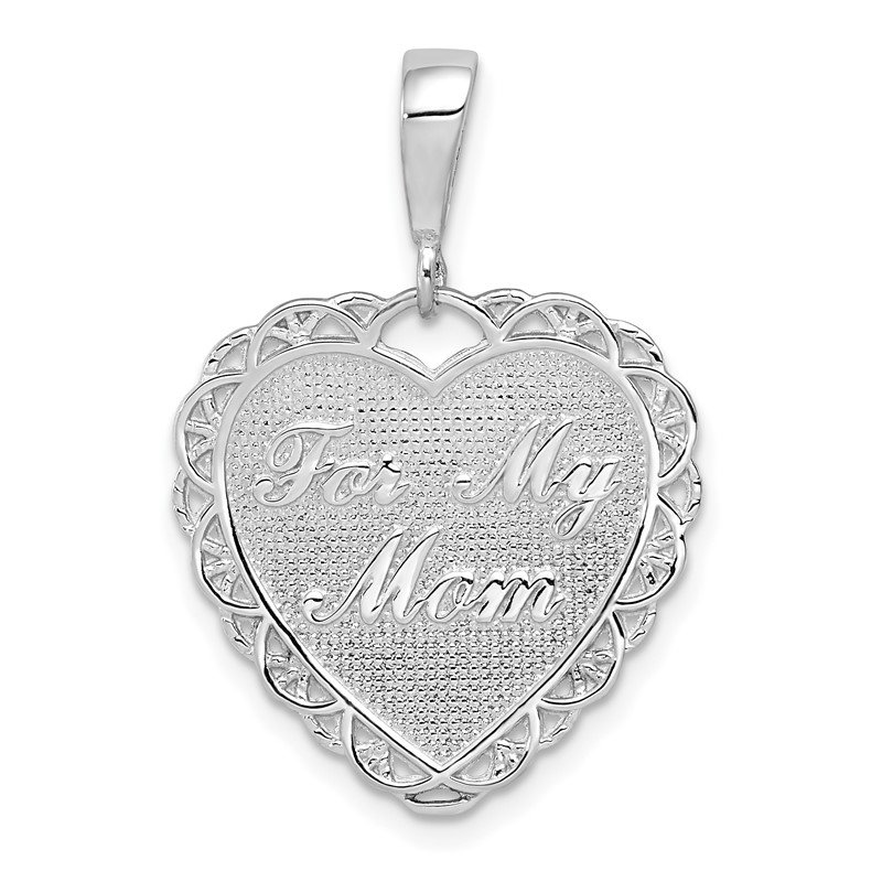 Quality Gold 14k White Gold Polished Reversible For My Mom Heart Pendant