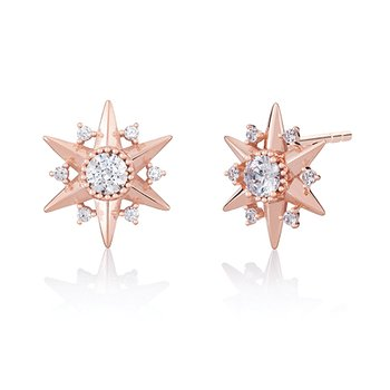 CHAMILIA BLUSH STARBURST STUD EARRINGS