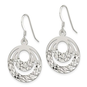 Sterling Silver Diamond Cut Circle Dangle Earrings