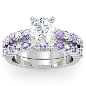 Round Diamond & Tanzanite Engagement Ring with Matching Wedding Band