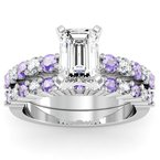 California Coast Designs Round Diamond & Tanzanite Engagement Ring with Matching Wedding Band