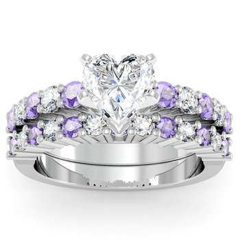 Round Diamond & Tanzanite Engagement Ring with Matching Wedding Band