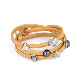 Bracelet. Natural leather, 316L stainless steel elements and Swarovski® Elements stones