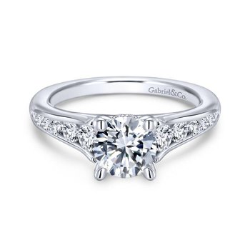 14k White Gold Diamond Straight Channel Set Engagement Ring with Four Prong Setting