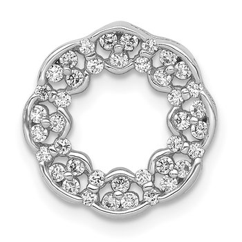 14k White Gold 3/8ct. Diamond Fancy Circle Chain Slide