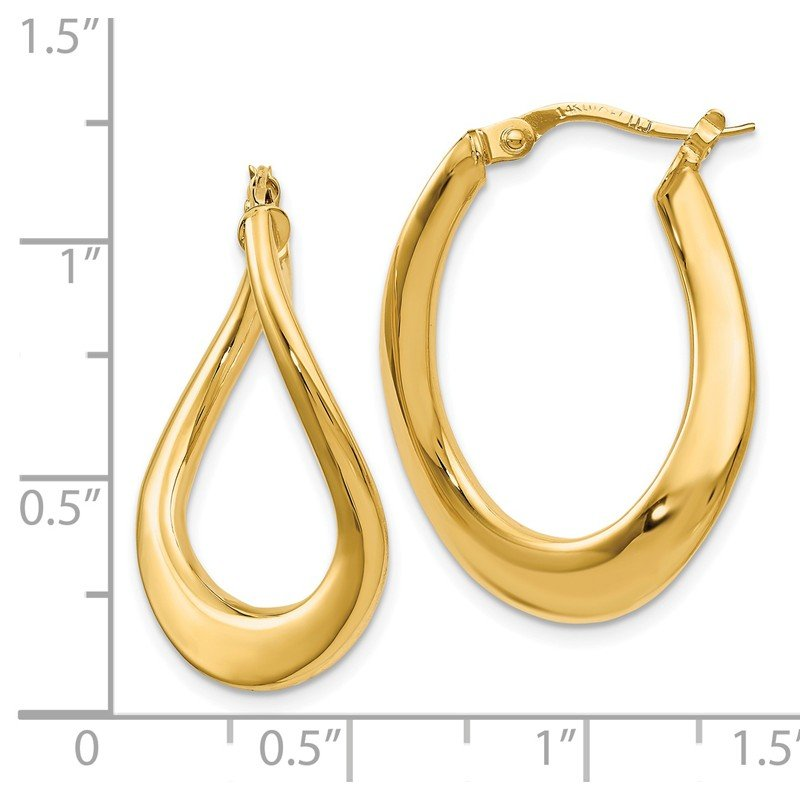 Leslie's Leslie's 14K Polished Oval Hoop Earrings
