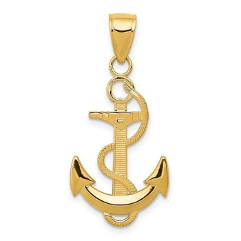 14k Polished Anchor with Textured Rope Pendant