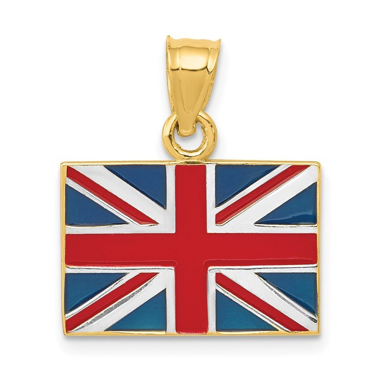 Quality Gold 14K w/Rhodium Solid Enameled United Kingdom Flag Pendant