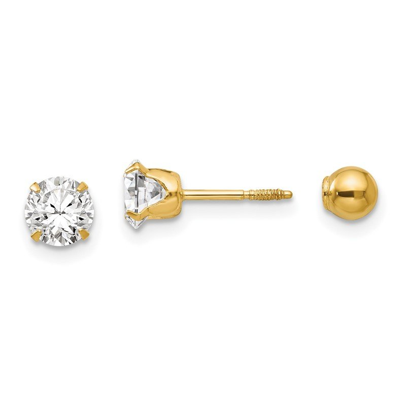 Quality Gold 14k Madi K Polished Reversible 5mm CZ & Ball Earrings