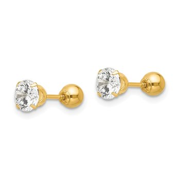 14k Madi K Polished Reversible 5mm CZ & Ball Earrings