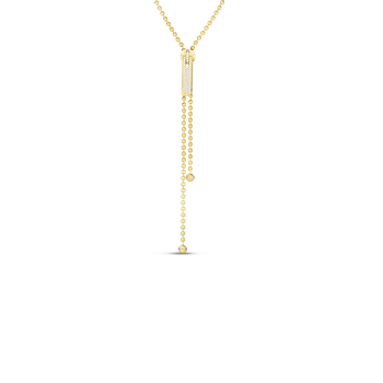 "18K 33"" LONG ZIPPER NECKLACE W. PAVE DIAMOND ZIPPER PULL"