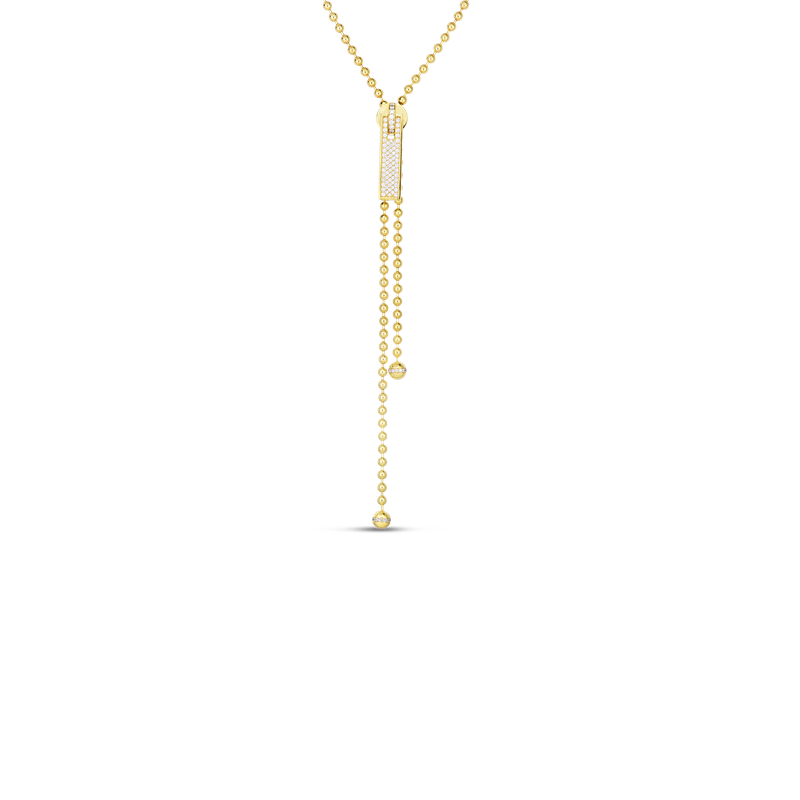 "Roberto Coin 18K 33"" LONG ZIPPER NECKLACE W. PAVE DIAMOND ZIPPER PULL"