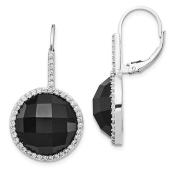 Cheryl M Sterling Silver CZ & Blk Onyx Checkerboard Cut Leverback Earrings
