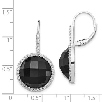 Cheryl M SS Rhod Plated CZ & Onyx Checkerboard Cut Leverback Earrings