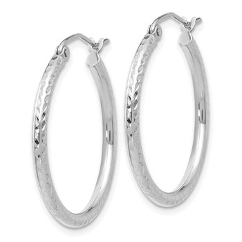 14k White Gold Diamond-cut 2mm Round Tube Hoop Earrings