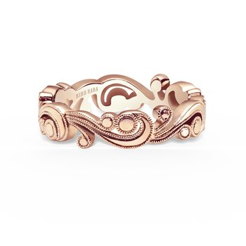 Poetic Elegant Milgrain Swirl Wedding Band