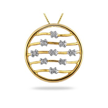 14K YG Diamond Circle Pendant