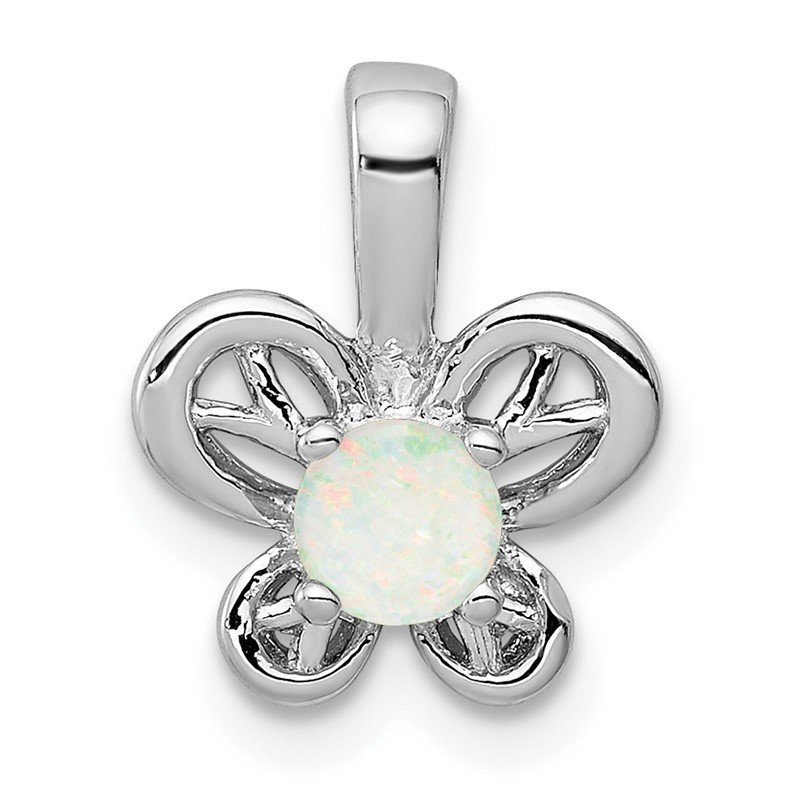 Quality Gold Sterling Silver Rhodium-plated Created Opal Pendant