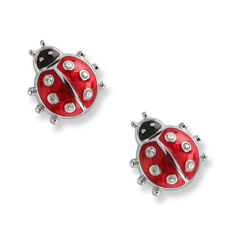 Nicole Barr Designs Red Ladybug Stud Earrings.Sterling Silver-White Sapphires