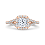 Carizza 14K Rose Gold Cushion Cut Diamond Halo Engagement Ring with Split Shank (Semi-Mount)