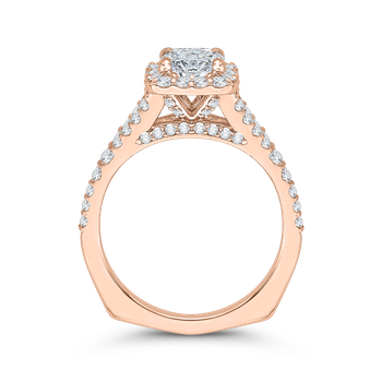 14K Rose Gold Cushion Cut Diamond Halo Engagement Ring with Split Shank (Semi-Mount)