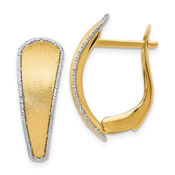 Leslie's 14k Scratch-finish w/Rhodium Diamond-cut edge Hoop Earrings
