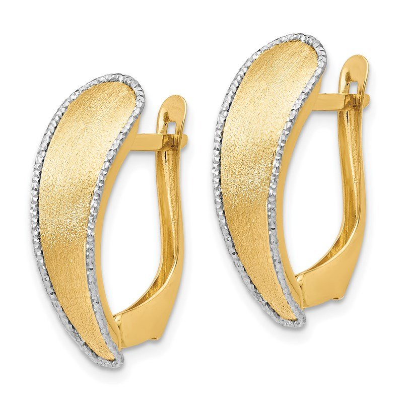 Leslie's Leslie's 14k Scratch-finish w/Rhodium Diamond-cut edge Hoop Earrings