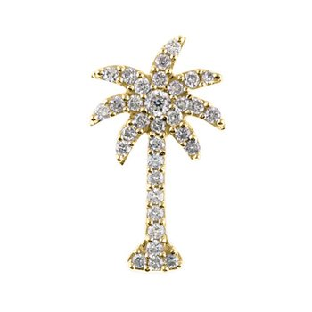 14K Yellow Gold .50 Ct Diamond Palm Tree Pendant
