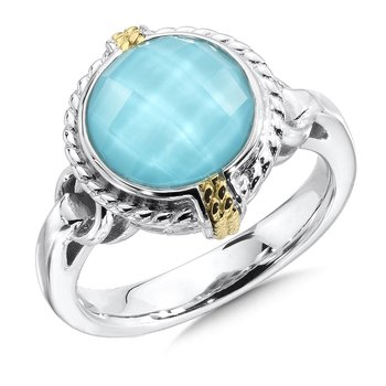 Sterling silver, 18k gold and turquoise fusion ring