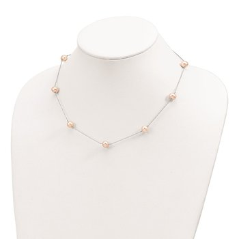 Sterling Silver RH 7-8mm Pink Round FWC Pearl 9 Station Necklace