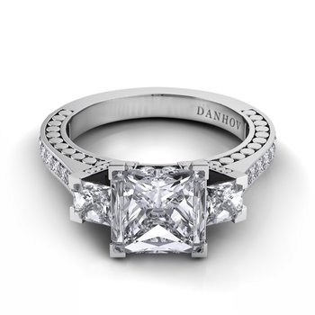 Tubetto Single Shank 3 Stone Engagement Ring