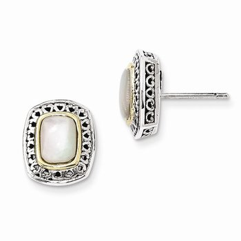 Sterling Silver w/14k Antiqued MOP Post Earrings