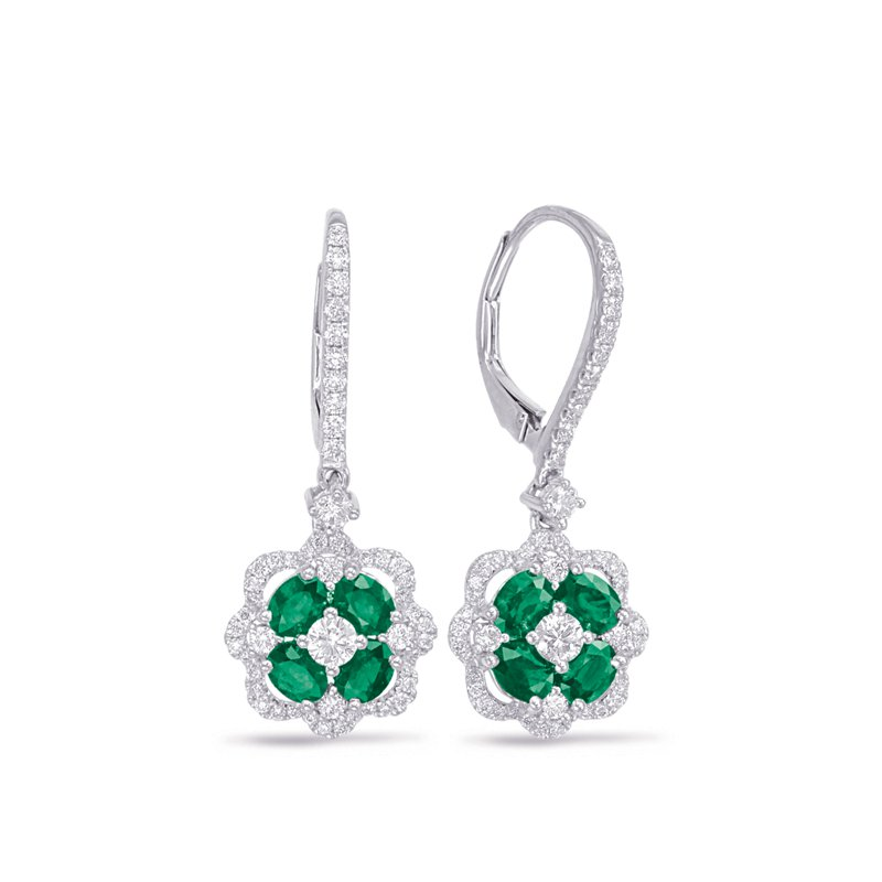 S. Kashi  & Sons White Gold Emerald & Diamond Hoop Earrin